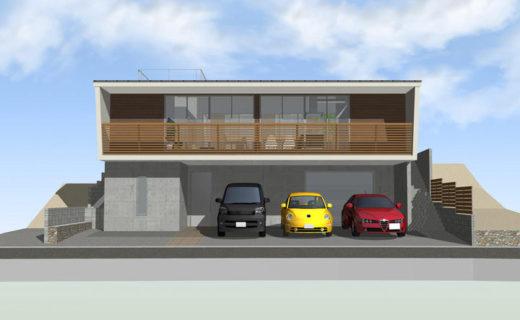 高低差のある敷地に建つ家
